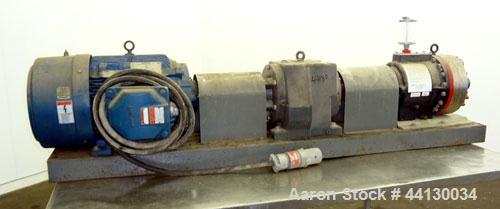 """Used- Hydra-Cell Pump, Model DD35EASJNNEHB, 316 Stainless Steel. Approximate 3"""" inlet, 1-1/2"""" outlet. Driven by a 3.81/25hp,..."""