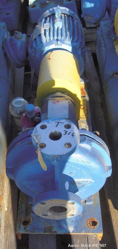"""Used- Ingersoll-Rand Centrifugal Pump, Size 1.5x1x8, 316 Stainless Steel. 1-1/2"""" inlet, 1"""" outlet, approximate 8"""" diameter i..."""