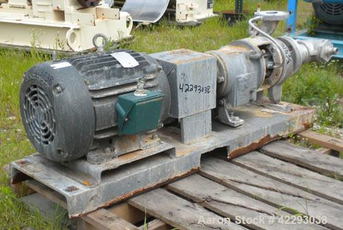 "Used- Ingersoll-Rand Centrifugal Pump, Size 3x2, 316 Stainless Steel. 3"" Inlet, 2"" outlet. Driven by a 15 hp, 3/60/460 volt,..."