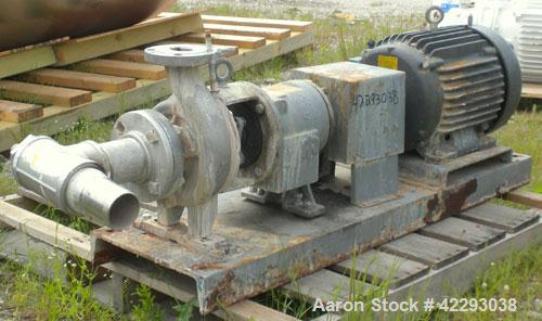 """Used- Ingersoll-Rand Centrifugal Pump, Size 3x2, 316 Stainless Steel. 3"""" Inlet, 2"""" outlet. Driven by a 15 hp, 3/60/460 volt,..."""