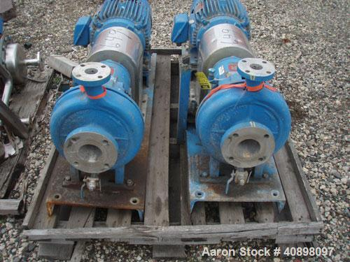 """Used- Ingersoll Rand Centrifugal Pump, Type HOC2, Size 3x1.5x10, stainless steel. 3"""" inlet, 1 1/2"""" outlet. Driven by a 15 hp..."""
