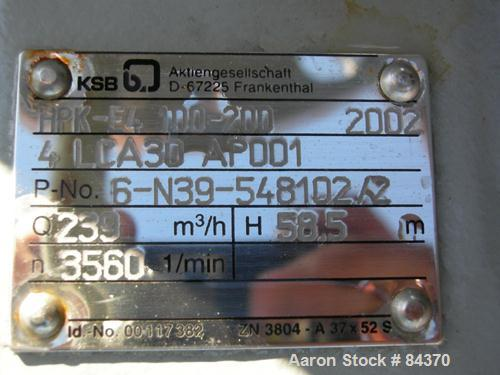 """Unused-UNUSED: KSB centrifugal pump, model HPK-E4 100-200, 316 stainless steel. 5"""" inlet, 4"""" outlet. Rated approximately 105..."""