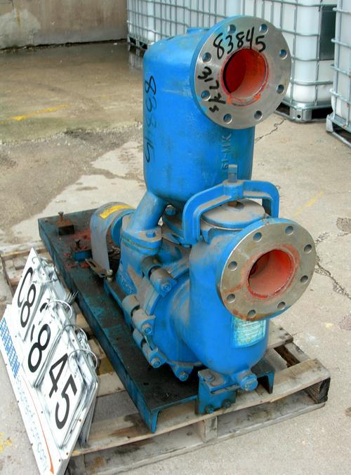 "USED: Labour self priming centrifugal pump, model 25W-DPL, 316 stainless steel. 4"" inlet/outlet. Approximate capacity 300 ga..."