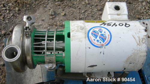Used: Tri Clover Centrifugal Pump, model C114MD56T-S, 316 stainless steel. Approximately 70 gallons per minute at 9' head at...