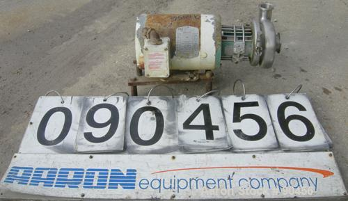 Used- Tri Clover Centrifugal Pump, Model C114MD56T-S, 316 stainless steel. Approximately 70 gallons per minute at 9' head at...