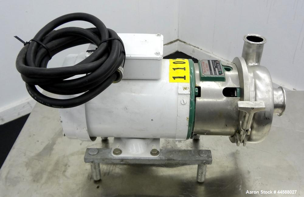 Used- Tri-Clover Tri-Flo H.D. Series Centrifugal Pump, Model C215MDG56T-S, 316 Stainless Steel.  Approximate capacity 60 gal...