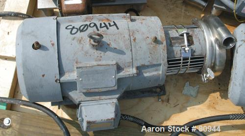 "USED: Tri Clover centrifugal pump, model C216MD21TS, 316 stainless steel. 2-1/2"" diameter tri-clamp inlet, 2"" tri-clamp outl..."