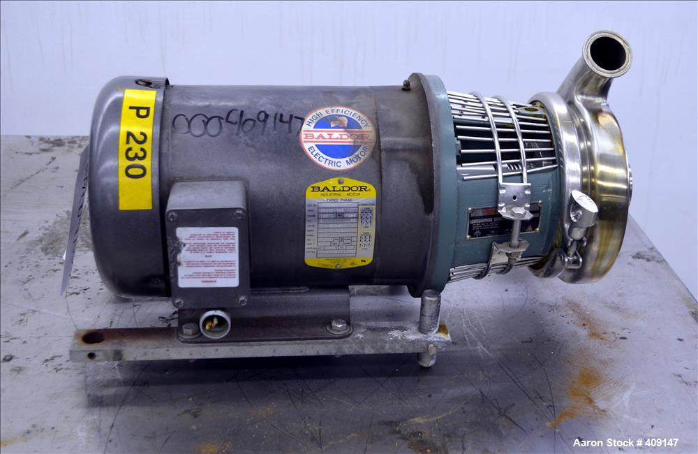 Used- Tri-Clover Centrifugal Pump, Model C216MDG18T-S, 316 Stainless Steel. Approximate 40 gallons per minute at 80' head. 2...