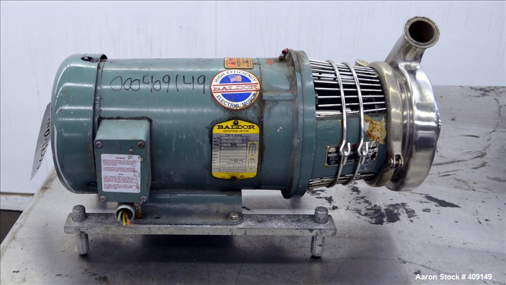 Used- Tri-Clover Centrifugal Pump, Model C216MDG18T-S, 316 Stainless Steel. Approximate 80 gallons per minute at 100' head. ...