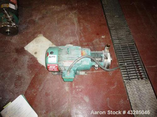 """Used- Tri-Clover Centrifugal Pump, Model C216MDG21T-S, Stainless Steel. 2"""" x 1.5"""", rated approximately 350 pgm at 200' head ..."""