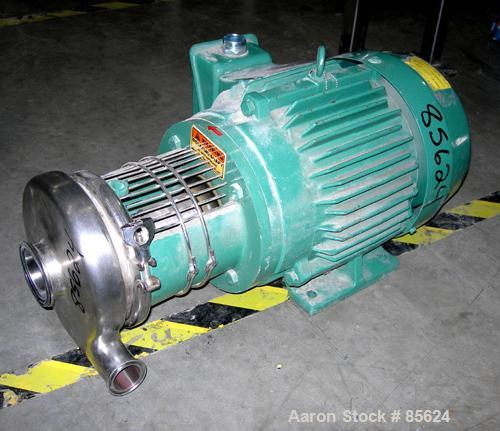 "Used- Tri Clover Centrifugal Pump, Model C216MDG21T-S, 316 Stainless Steel. 6"" impeller, 2-1/2"" tri clamp inlet, 1-1/2"" tri ..."