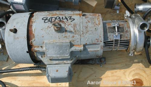 """USED: Tri Clover centrifugal pump, model C216MD21TS, 316 stainless steel. 2-1/2"""" diameter tri-clamp inlet, 2"""" tri-clamp outl..."""