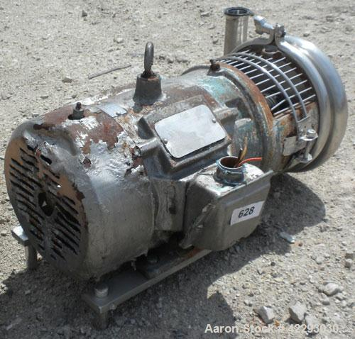 "Used- Tri-CloverCentrifugalPump, Model C218MD18T-S,316 stainless steel.2"" Tri-clamp inlet, 1-1/2"" tri-clamp outlet. 6-1/2"" D..."