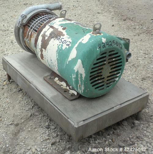 "Used- Tri-Clover Centrifugal Pump, Model C218MDG21T-20ND-O2U-09SP, 316 Stainless Steel. 2"" Sanitary inlet, 1-1/2"" sanitary o..."