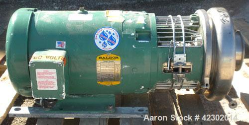 """Used- Tri-Clover Tri-Flo Centrifugal Pump, model C328MD18T-S,316 stainless steel. 4"""" sanitary inlet, 2"""" sanitary outlet. 8""""..."""