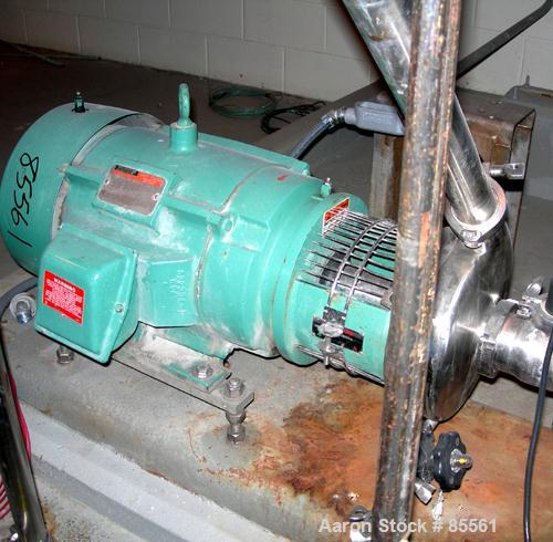 "USED: Tri Clover centrifugal pump, model C328MDG2STS, 316 stainless steel. 8"" impeller, 3"" tri clamp inlet, 2"" tri clamp out..."