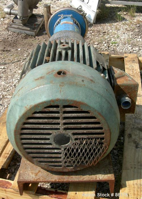 "Used- Tri-Clover Centrifugal Pump, Model SP218ME20ND01U17SP, 316 Stainless Steel. 6"" impeller, 3"" tri clamp inlet, 1-1/2"" tr..."