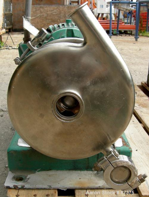 Used- Tri-Clover Centrifugal Pump, Model SP18MH-S, 316 Stainless Steel. Rated approximately 60 gallons per minute at 200' he...