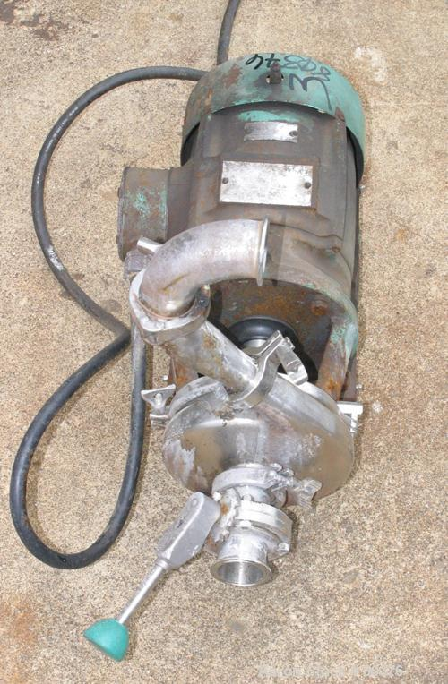 """USED: Tri-Clover centrifugal pump, model C216ME18T-S, 316 stainless steel. 2"""" diameter inlet, 1-1/2"""" outlet, 8"""" diameter imp..."""