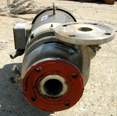 "USED: Waukesha centrifugal pump, model 2065, 316 stainless steel. 2-1/2"" tri clamp inlet, 2"" tri clamp outlet. Approx 5-1/2""..."