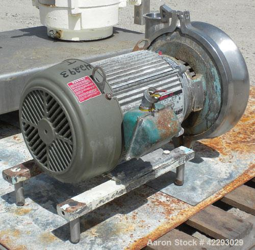 "Used- Waukesha Centrifugal Pump, model 2085, 316 stainless steel. 3"" Tri-clamp inlet, 2"" tri-clamp outlet. 8"" Diameter impel..."
