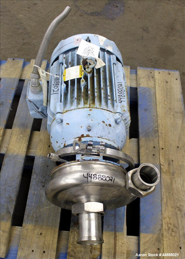 """Used- Waukesha Centrifugal Pump, Model 2085, 316 Stainless Steel. Rated approximate 120 gallons per minute at 210 head. 3"""" T..."""