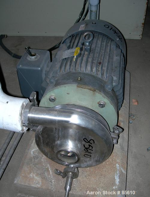 "Used- Waukesha Centrifugal Pump, Model 2085, Stainless Steel. 3"" Tri-clamp outlet. Approximately 8"" diameter impeller. Rated..."