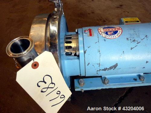 """Used- Waukesha Centrifugal Pump, Model 2085LV, Stainless Steel.  2"""" Tri-clamp inlet, 1-1/2"""" tri-clamp outlet. Rated approxim..."""