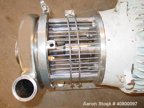 """Used- Waukesha Centrifugal Pump, model C218, 316 stainless steel. 3"""" tri-clamp inlet, 1 1/2"""" tri-clamp outlet. Approximate 5..."""