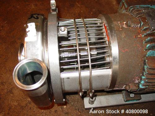"Used- Waukesha Centrifugal Pump, Model C328, 316 stainless steel. 3"" tri-clamp inlet, 2"" tri-clamp outlet. Approximate 5"" di..."