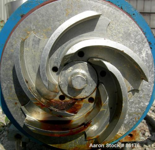 """Used- Waukesha Centrifugal Pump, 316 Stainless Steel. 3"""" tri clamp inlet, 2"""" tri clamp outlet. Approximate 5-1/2"""" diameter i..."""
