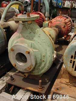 """Used- Worthington Centrifugal Pump, Model D1011. Size 3"""" inlet x 2"""" outlet x 10"""" diameter impeller, 316 stainless steel. Rat..."""