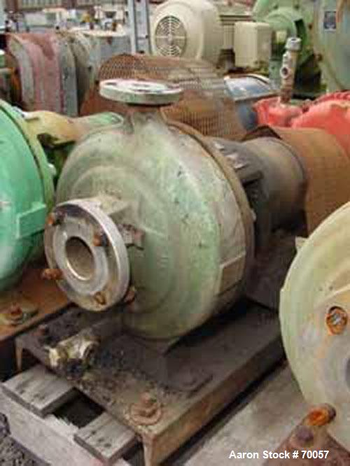 "Used- Worthington Centrifugal Pump, Model D1011. Size 2"" inlet x 1"" outlet x 10"" diameter impeller, 316 stainless steel. Rat..."