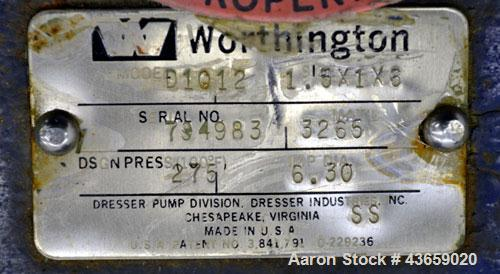 Used- Worthington Centrifugal Pump, Model D1012, Size 1.5 X 1 X 6, 316 Stainless steel. Rated approximate 150 gallons per mi...