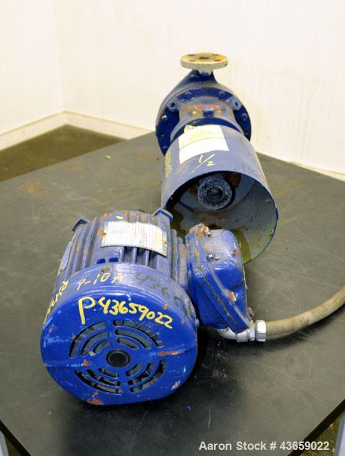 Used- Worthington Centrifugal Pump, Model D1012, Size 1.5 X 1 X 6, 316 Stainless steel. Rated approximate 50 gallons per min...