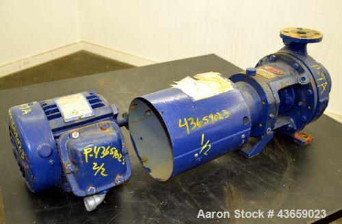Used- Worthington Centrifugal Pump, Model D1012, Size 1.5 X 1 X 6, 316 Stainless steel. Rated approximate 20 gallons per min...