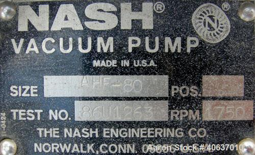 """Used- NashLiquidRingVacuumPump,Size AHF-80,316 Stainless Steel. Approximate capacity 72 CFM at 15"""" to 20"""" H.G.Approxi..."""