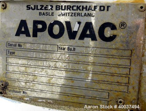 Used- Apovac System, Model 1.5/660, Consisting Cf: (1) Sulzer Burckhardt vacuum pump, model PMSH156-D2, driven by a 10 hp, 3...
