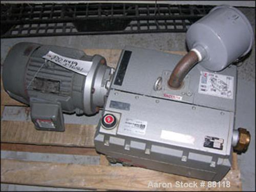 USED: Becker vacuum, model U4.100SA/K, carbon steel. 100/120 cubic meters an hour (58-70 cfm) at 3/3 mbar. driven by a 5 hp,...