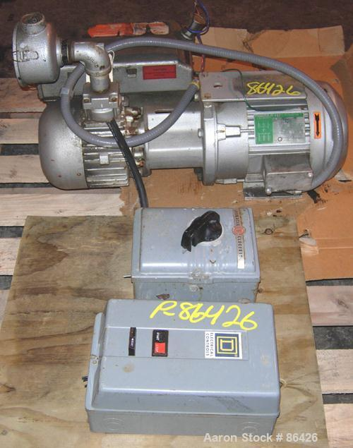 USED: Busch single stage, oil sealed, rotary vane vacuum pump, model R5-063-138, carbon steel. Rated 41 cfm (29.3 hg), 15 to...