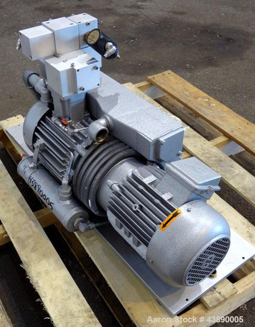 Used- Busch Series R5 Single Stage, Oil Sealed, Rotary Vane Vacuum Pump, Model 0100-131, Carbon Steel. Rated 63 cfm, air coo...