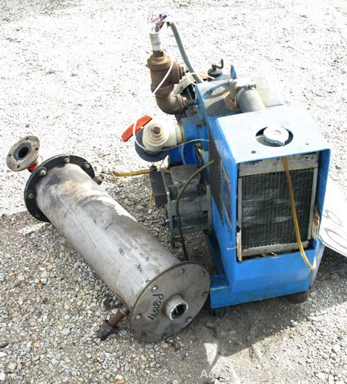 USED: Busch Huckepack two stage rotary vane vacuum pump, model 429, carbon steel. Rated 113 cfm. Radiator cooled with holdin...