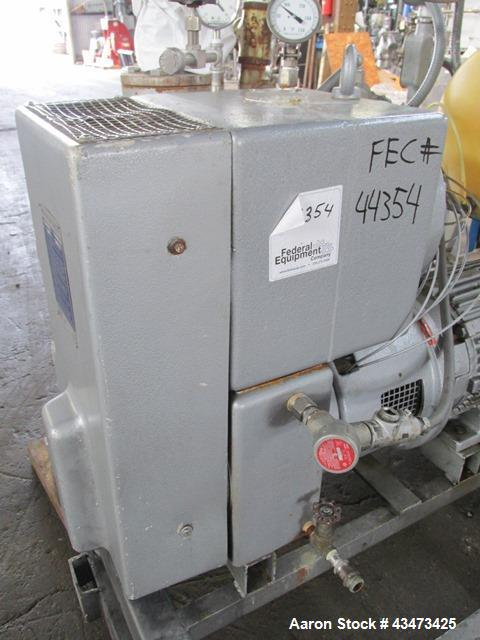 Busch Huckepack Vacuum Pump, Model 437-002. Rated 310 cfm at 0.5 Torr. Driven by 20hp, 230/460 volt XP motor. Skid mounted w...