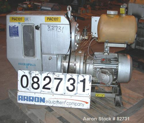 USED: Busch Huckepack two stage once through sealing rotary vane vacuum pump, model 437, carbon steel. Rated 282 cfm (29.9 h...