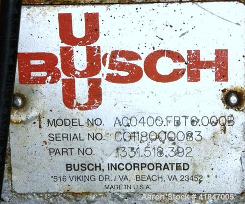 Used- Busch Single Stage Cobra Dry Screw Vacuum Pump, Model AC0400FBT6.000B, Carbon Steel. Rated 262 cfm, 0.05'' Torr., dire...