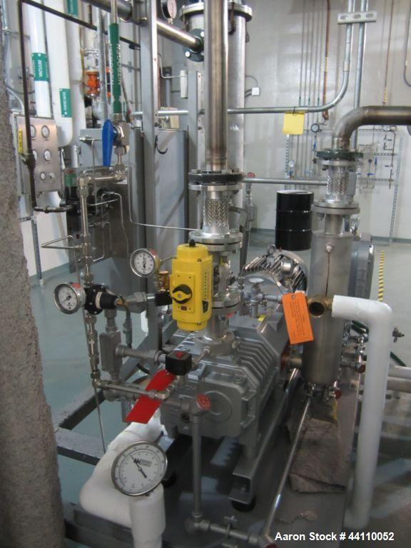 Used- Busch vacuum pump system, Model NC0250 ABM6.000F, with RAS steel condenser, installed 2010