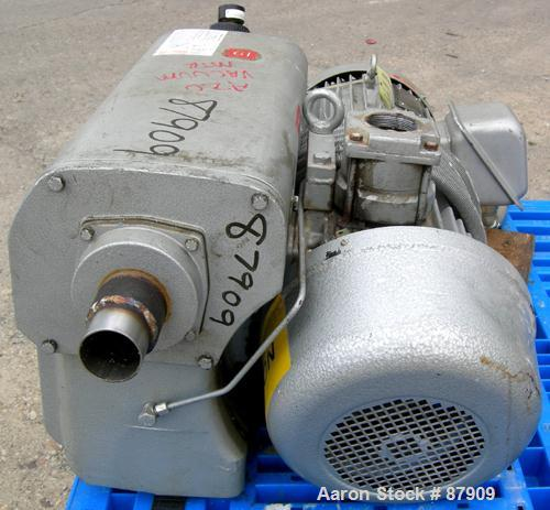 "USED: Busch single stage, oil sealed, rotary vane vacuum pump, model R00160-13032-1001, carbon steel. Rated 117 cfm, 20.6"" h..."