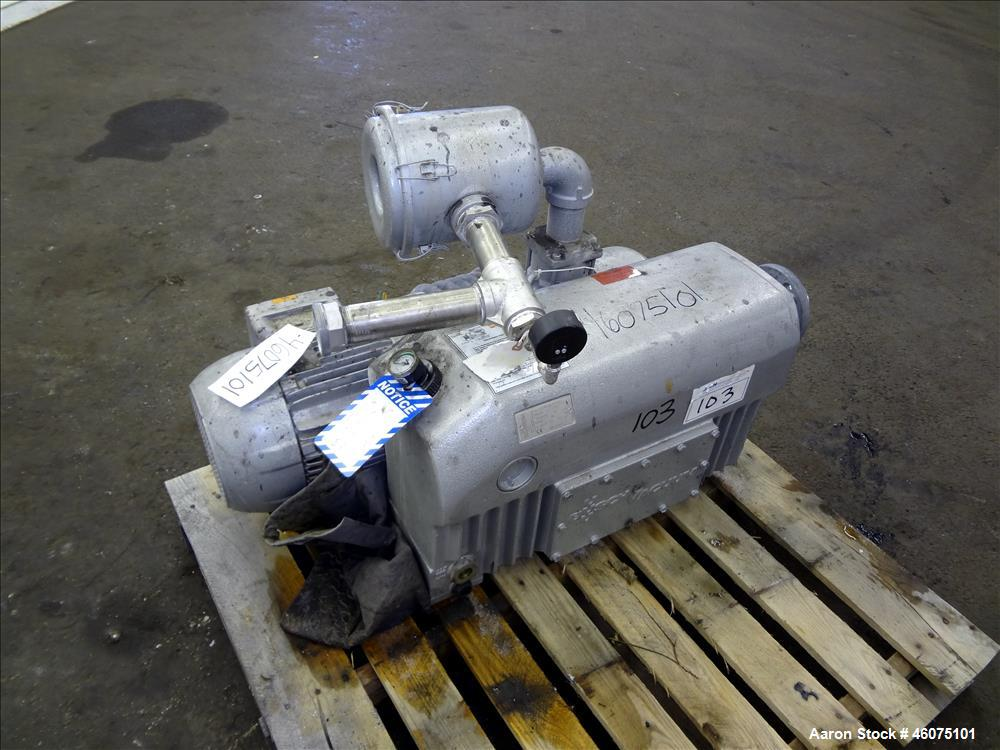 Used- Busch Single Stage Air Cooled Oil Sealed Rotary Vane Vacuum Pump, Model RC0160.B032.1001, Carbon Steel. Rated 117 CFM ...