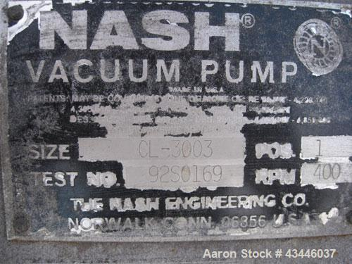 Used- Carbon Steel Nash Liquid Ring Vacuum Pump, Model CL-3003