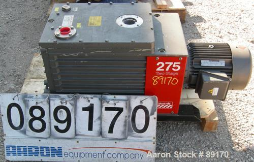USED: Edwards two stage rotary vane vacuum pump, model E2M275, carbon steel. Rated 172 cfm. Driven by an 8.5 kW (10 hp), 3/6...